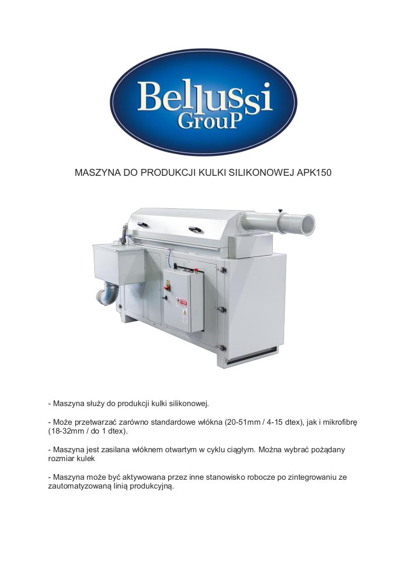 Maszyna do produkcji kulki silikonowej APK150 katalog