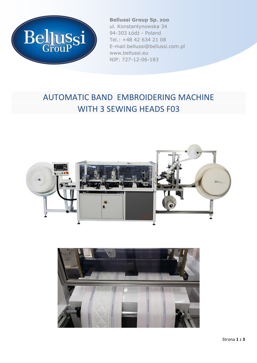 AUTOMATIC BAND  EMBROIDERING MACHINE WITH 3 SEWING HEADS F03 catalogue