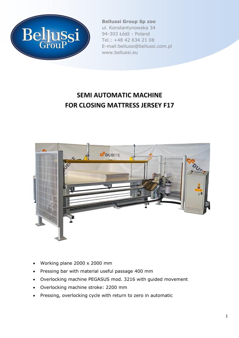 SEMI AUTOMATIC MACHINE FOR CLOSING MATTRESS JERSEY F17 catalogue