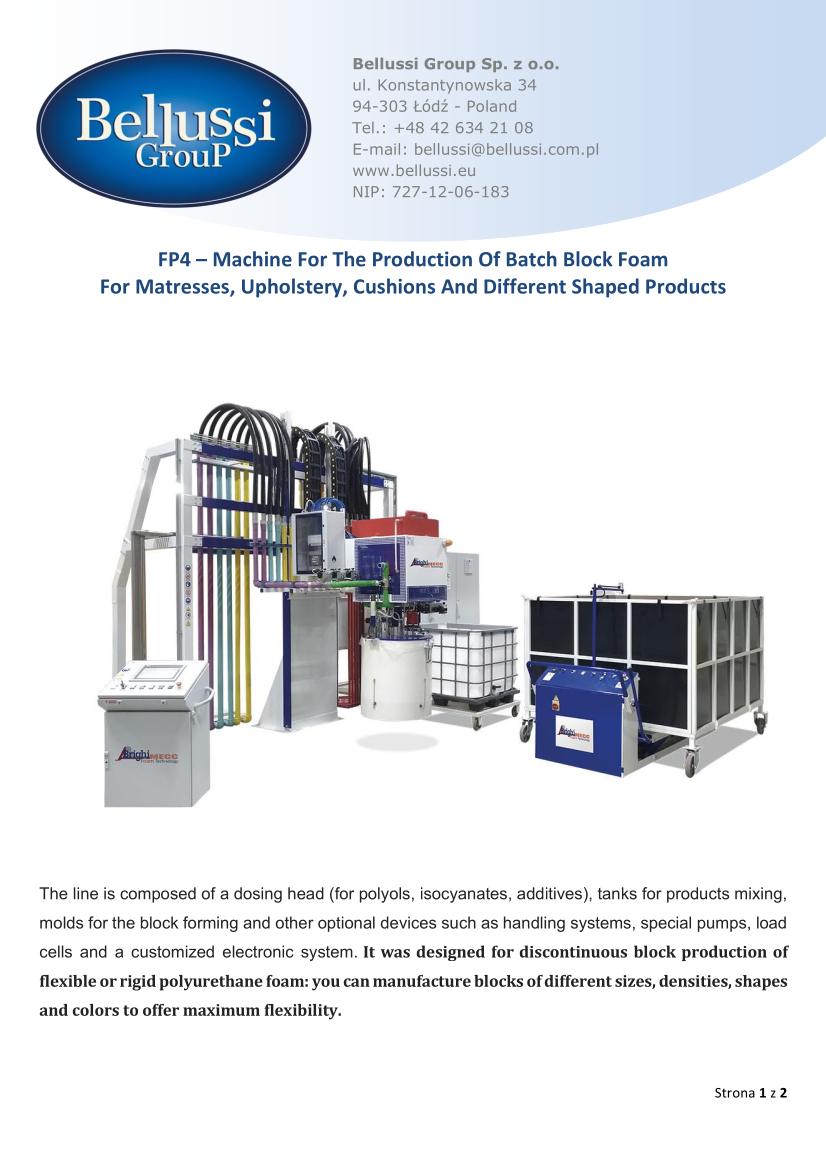 FP4 – Machine For The Production Of Batch Block Foam catalogue