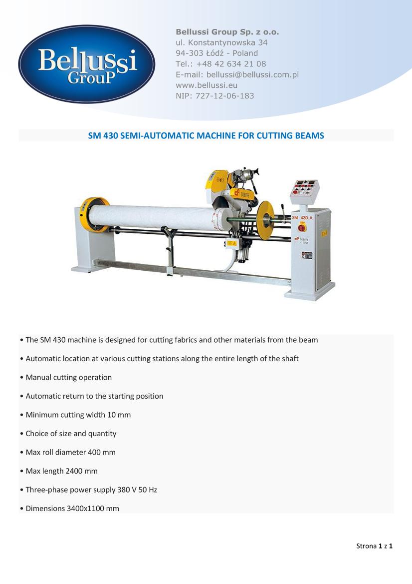 SM 430 SEMI-AUTOMATIC MACHINE FOR CUTTING BEAMS catalogue